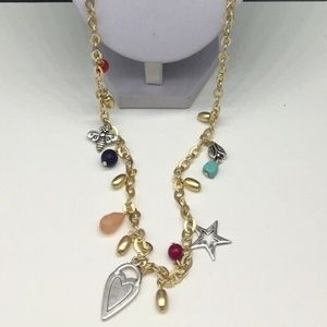 NEW Chico's Gold Silver Multi Charm Necklace